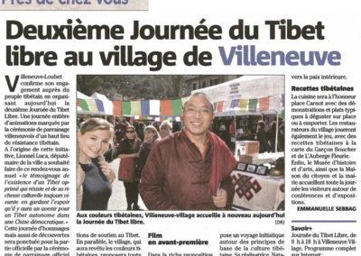 Mars 2016 - Nice Matin - deuxième journée du Tibet Libre - Villeneuve